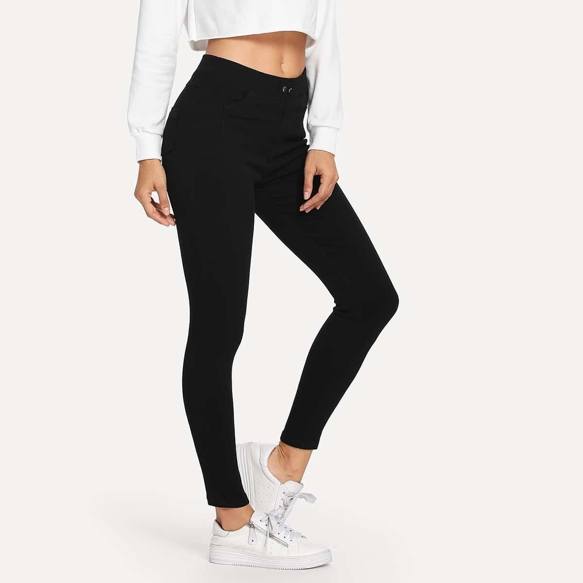 Zwart Casual Vlak jeans Knoop