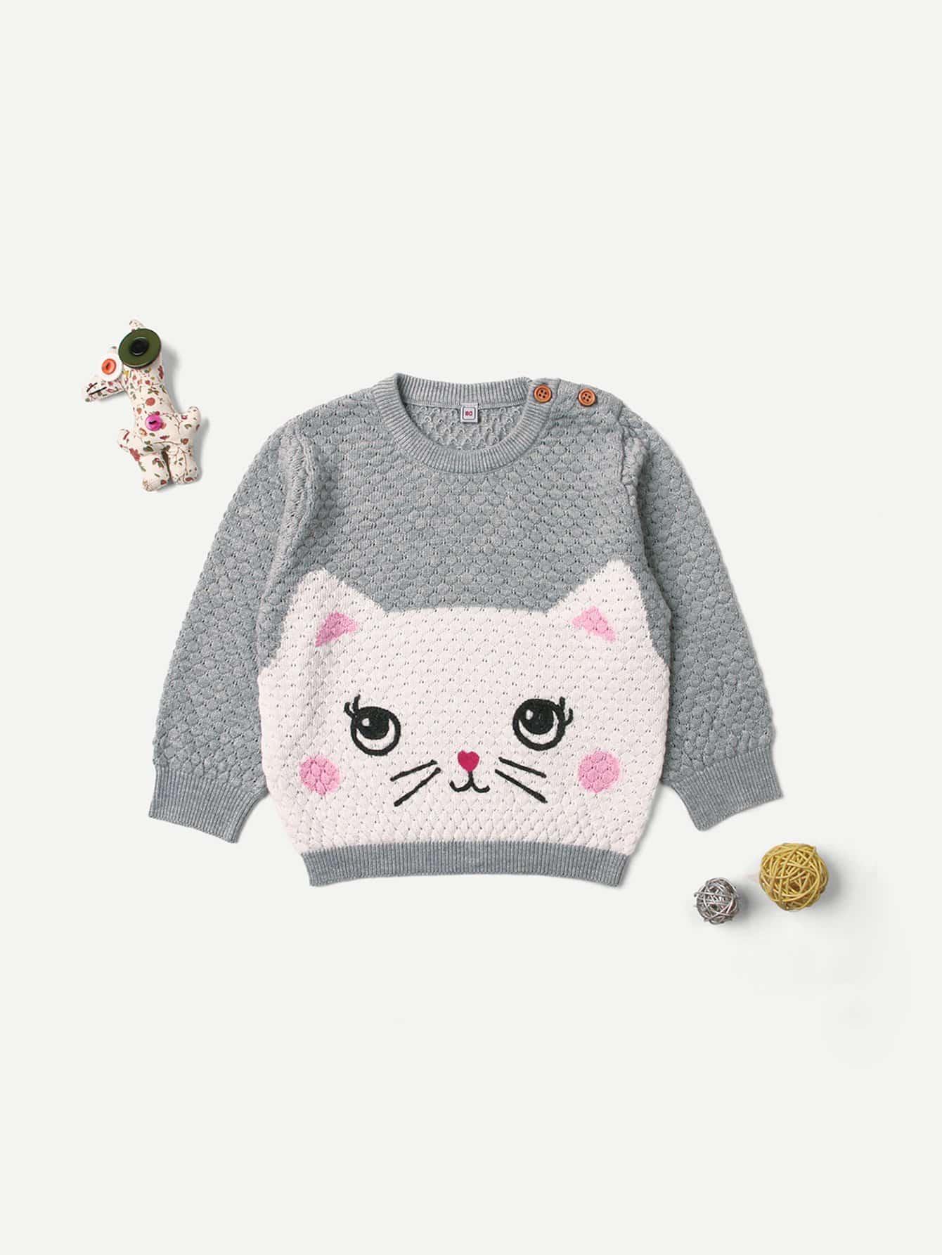Купить Фуфайка с принтом кота для малышских девочек, null, SheIn