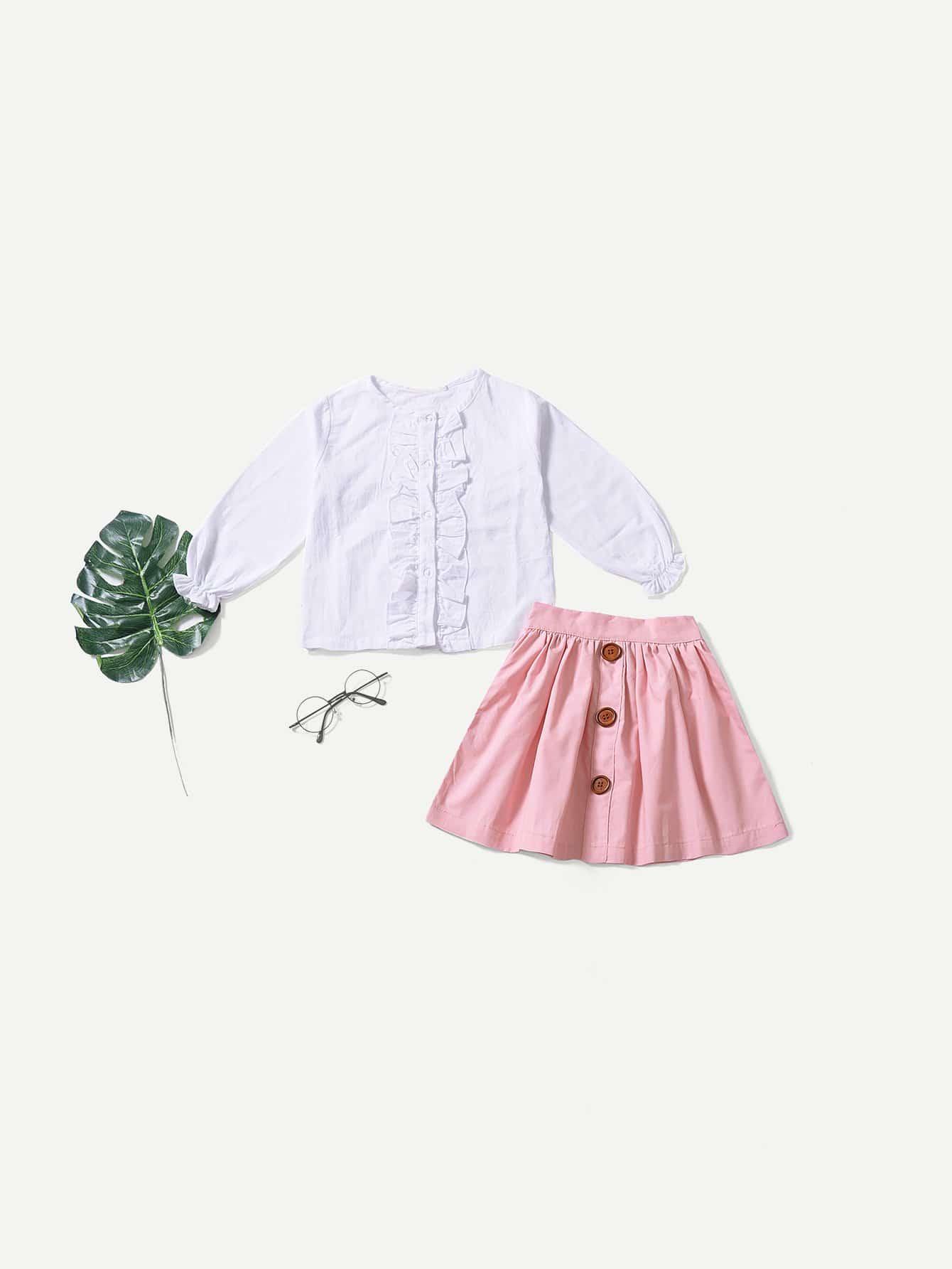 Купить Простая блуза со складками и юбка с украшением пуговицы для малышских девочек, null, SheIn