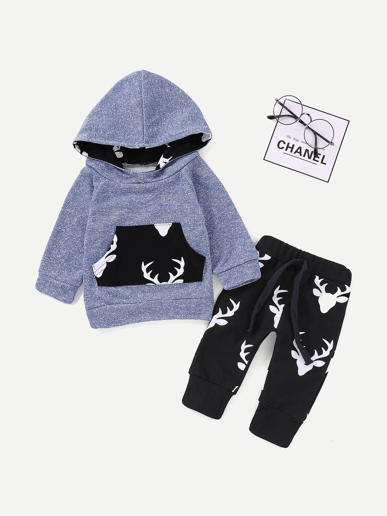 Купить Свитшот с капюшоном и брюки с принтом оленя для плода мужского рода, null, SheIn