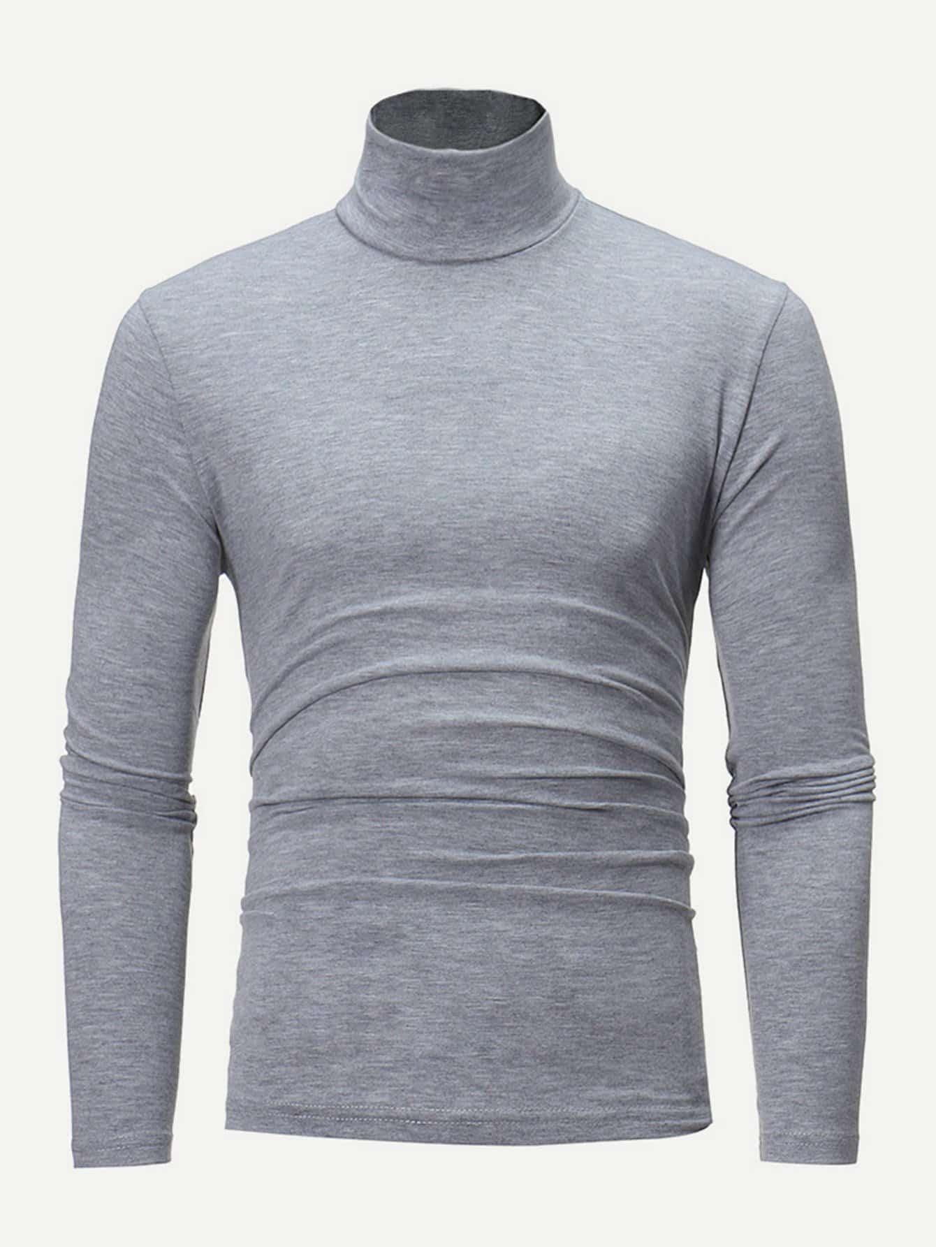 Купить Мужская простая футболка с высоким воротником, null, SheIn