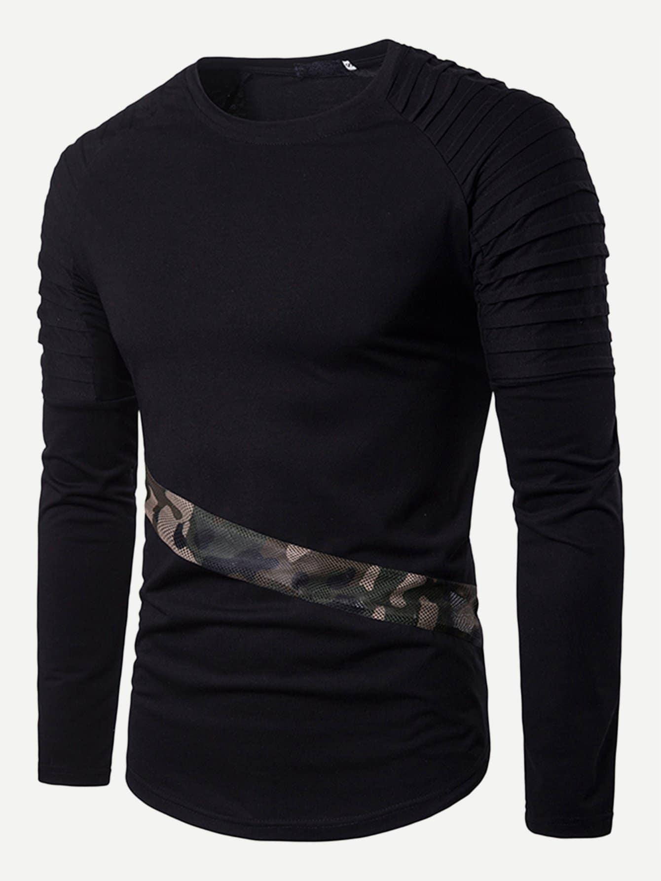 Купить Мужская футболка с рукав-регланами и контрастными камуфляжами, null, SheIn