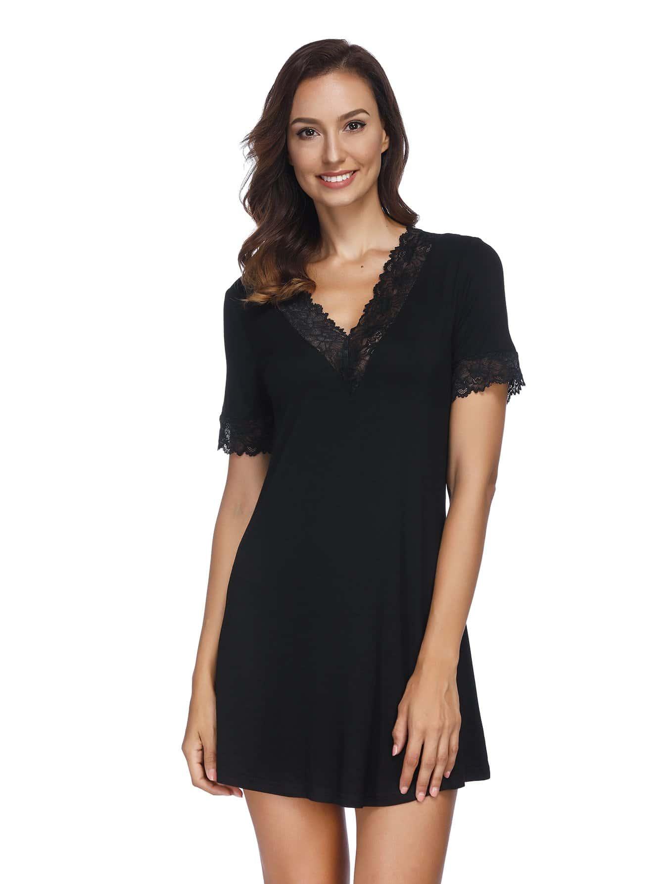 Купить Ситцевая ночная сорочка с кружевными оборками, null, SheIn