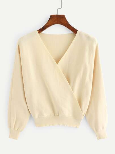 Surplice Front Solid Sweater