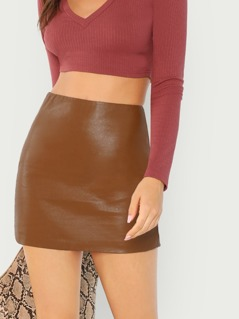 Zip Up Back PU Skirt