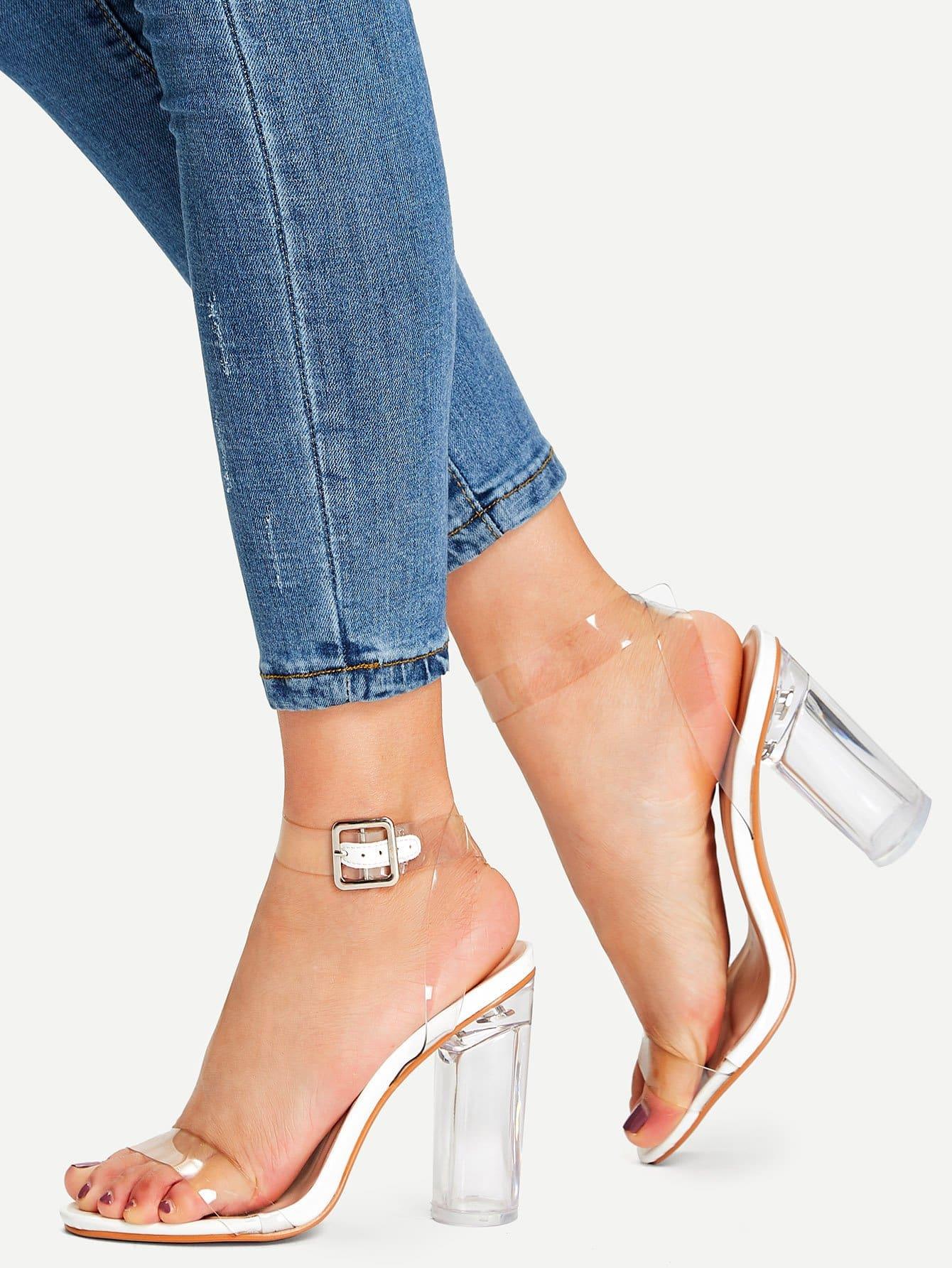 Купить Прозрачные туфли на высоких каблуках с шнурками, null, SheIn