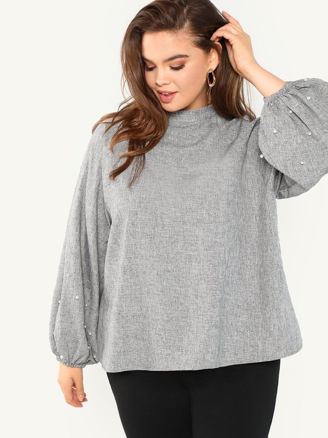 Купить Плюс размеры блузка с ложным воротником с жемчугами, Faith Bowman, SheIn
