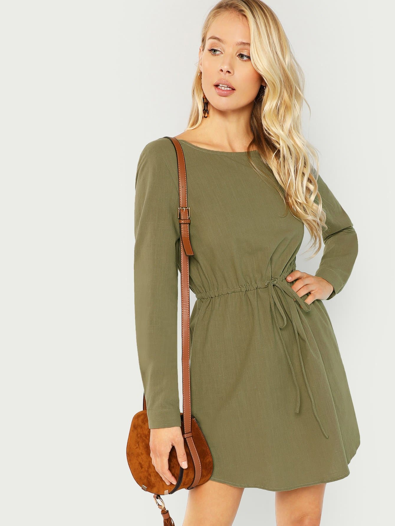 Купить Твердое платье с карманом с кулиской на талии, Allie Leggett, SheIn