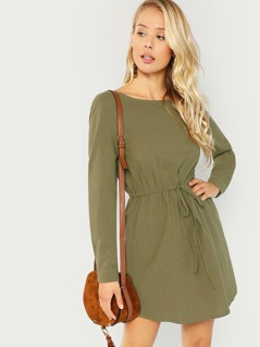 Waist Drawstring Pocket Solid Dress