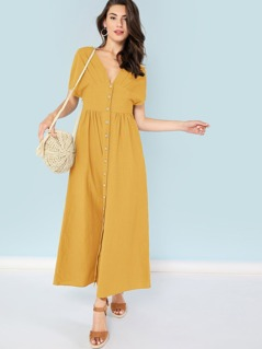Knot Side Button Up Plunging Dress