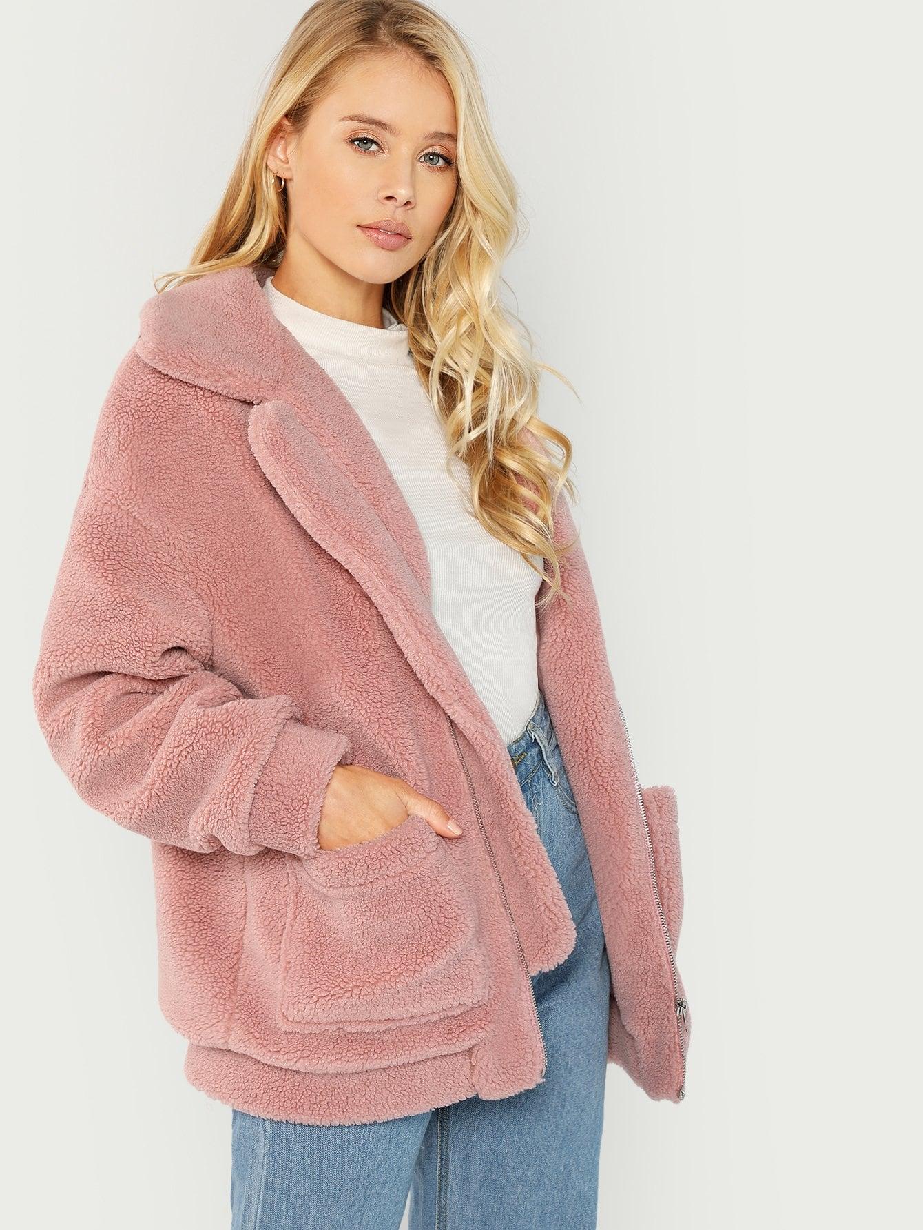 Купить Негабаритная Флисовая тедди куртка с заниженной линией плеч, Allie Leggett, SheIn