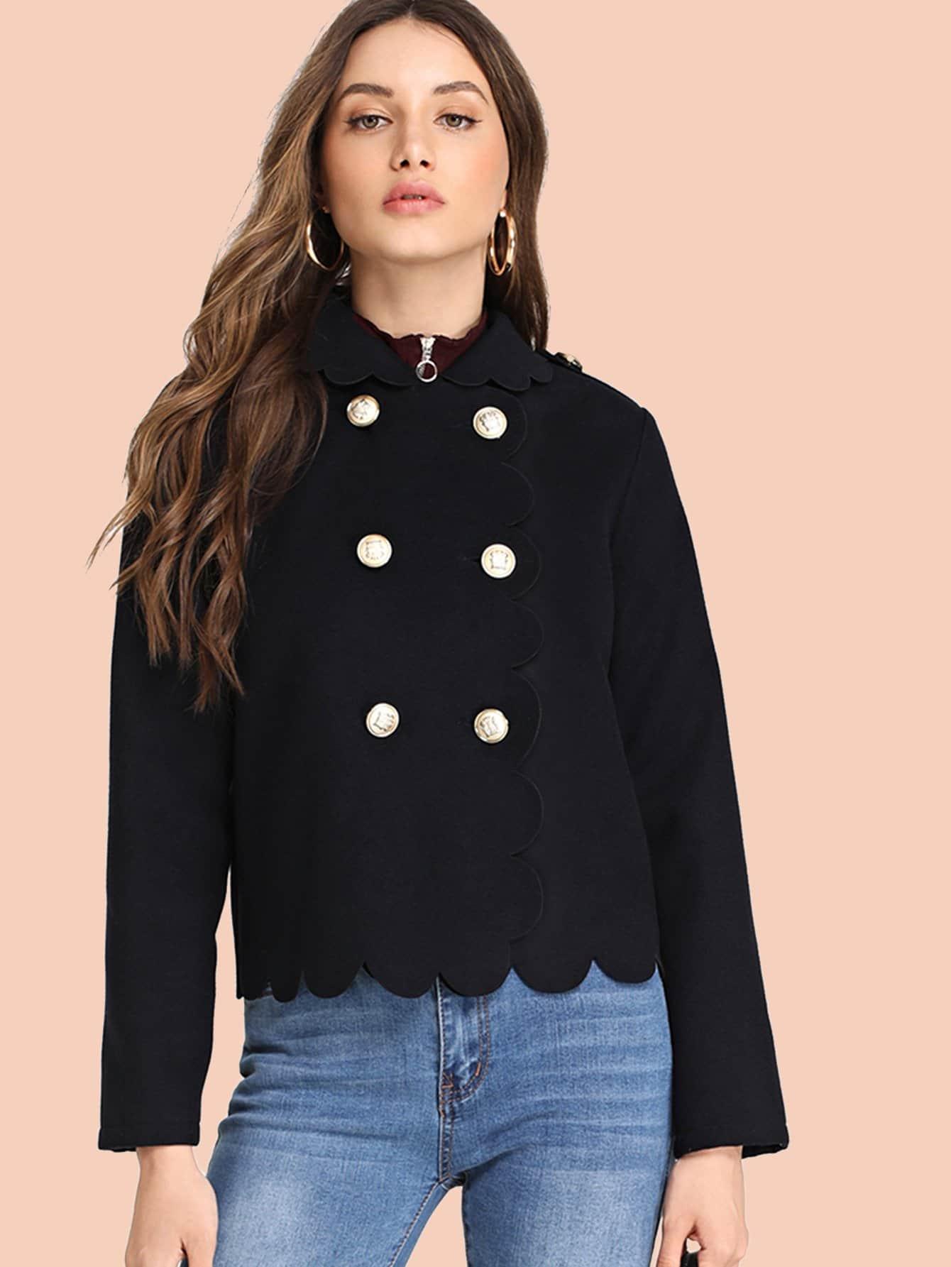 Купить Двубортная куртка с веерообразной отделкой, Tatiana, SheIn