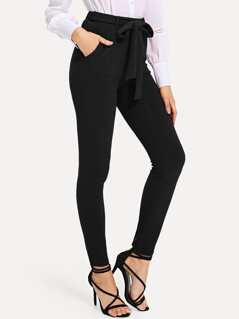 Self Tie Solid Skinny Pants