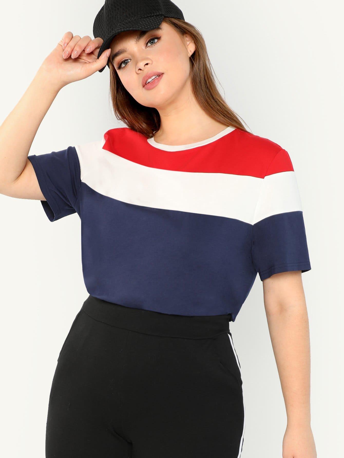 Купить Плюс размеры вырезать шить футболка, Faith Bowman, SheIn