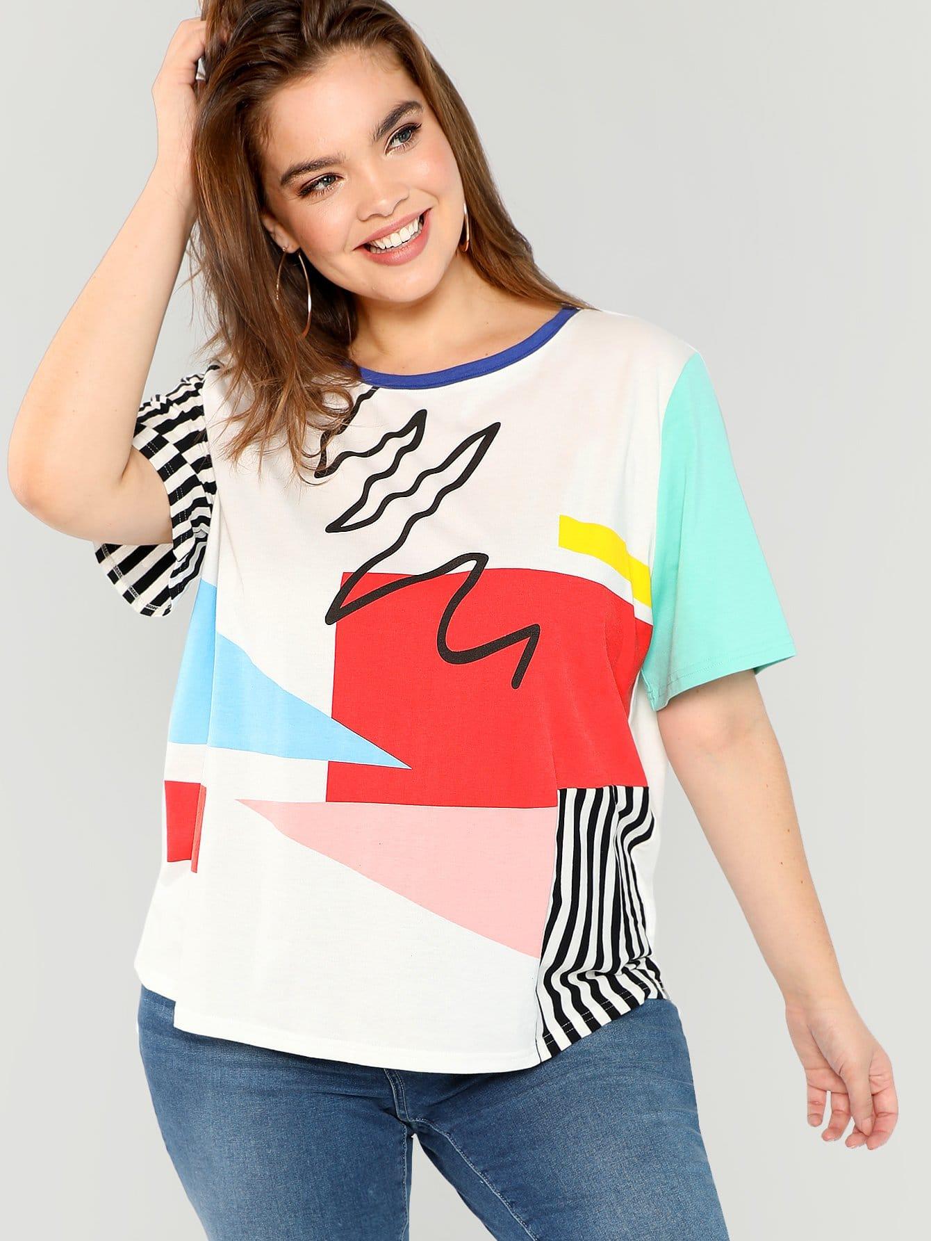 Купить Плюс размеры контрастная футболка, Faith Bowman, SheIn