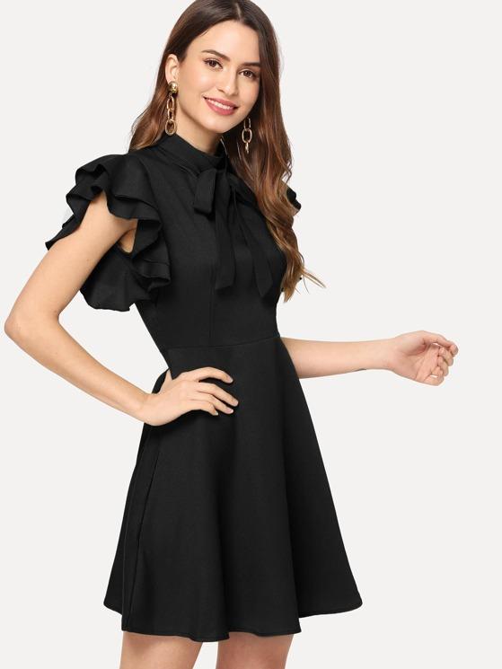 b6dfcc71f Flutter Sleeve Fit & Flare Dress | MakeMeChic.COM