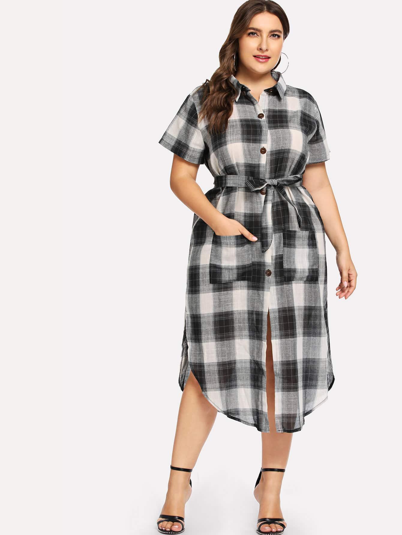 Купить Плюс размеры рубашка платье в клетку с поясом, Franziska, SheIn