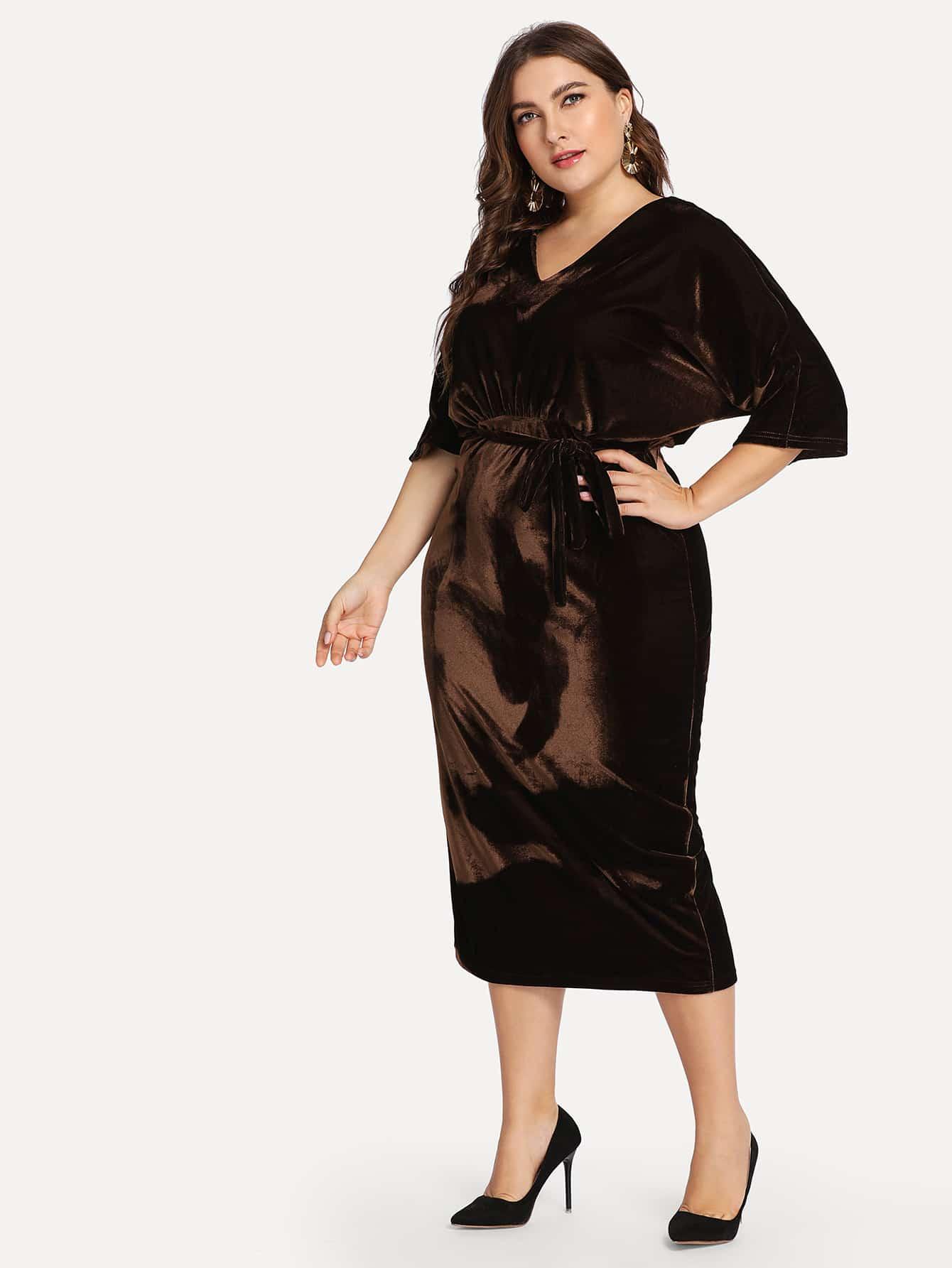 Купить Плюс размеры платье-карандаш с поясом, Franziska, SheIn