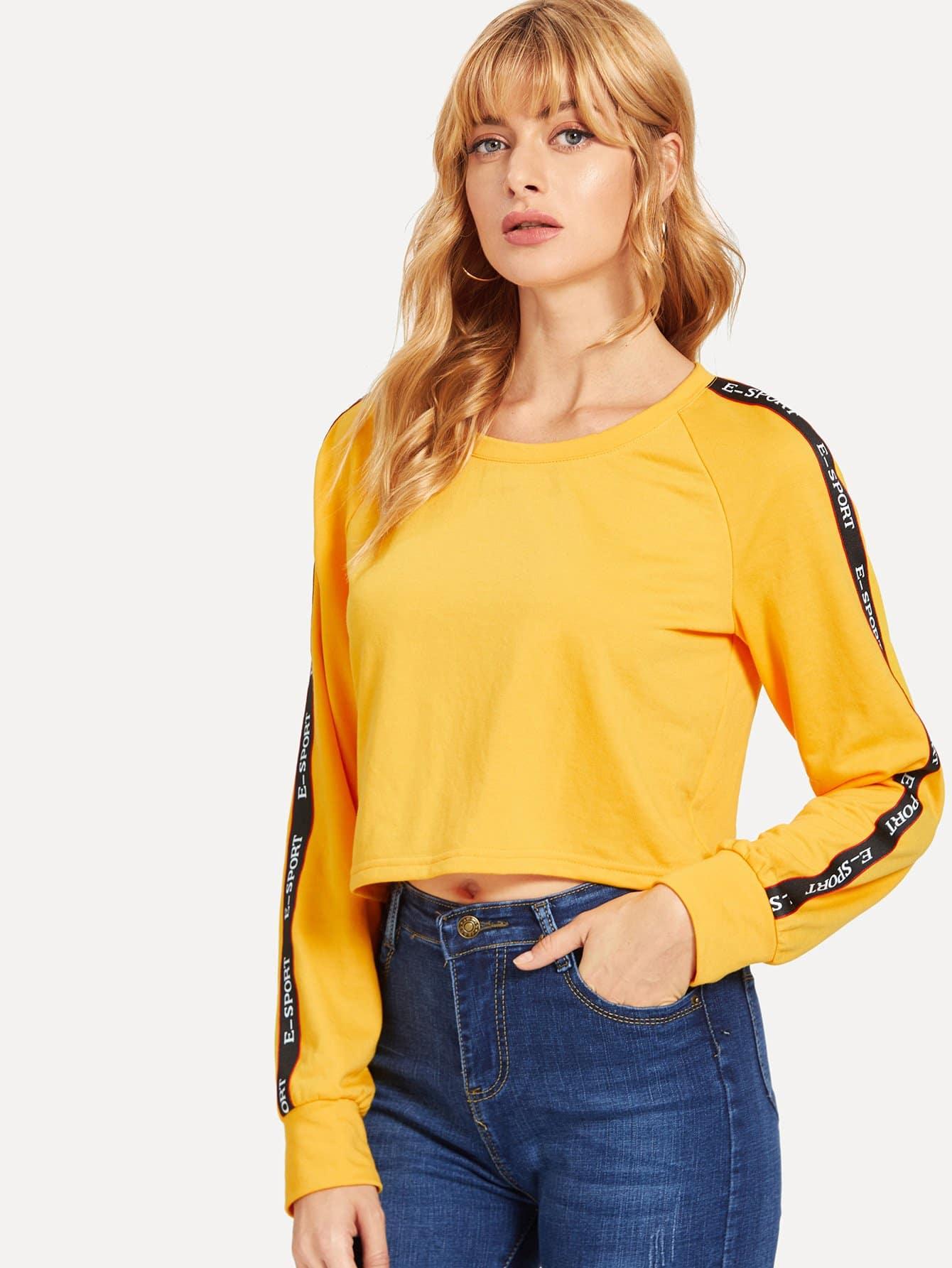 Пуловер с рукавом-регланом с принтом букв, Masha, SheIn  - купить со скидкой