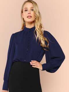 Button Front Mock neck Solid Top