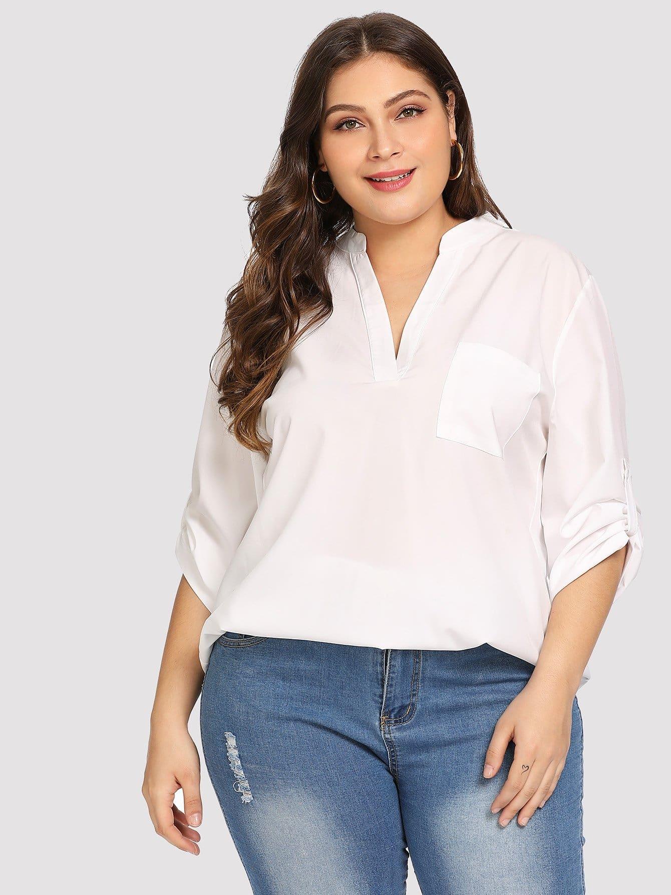 Купить Большая простая блуза с кривой подол, Carol, SheIn