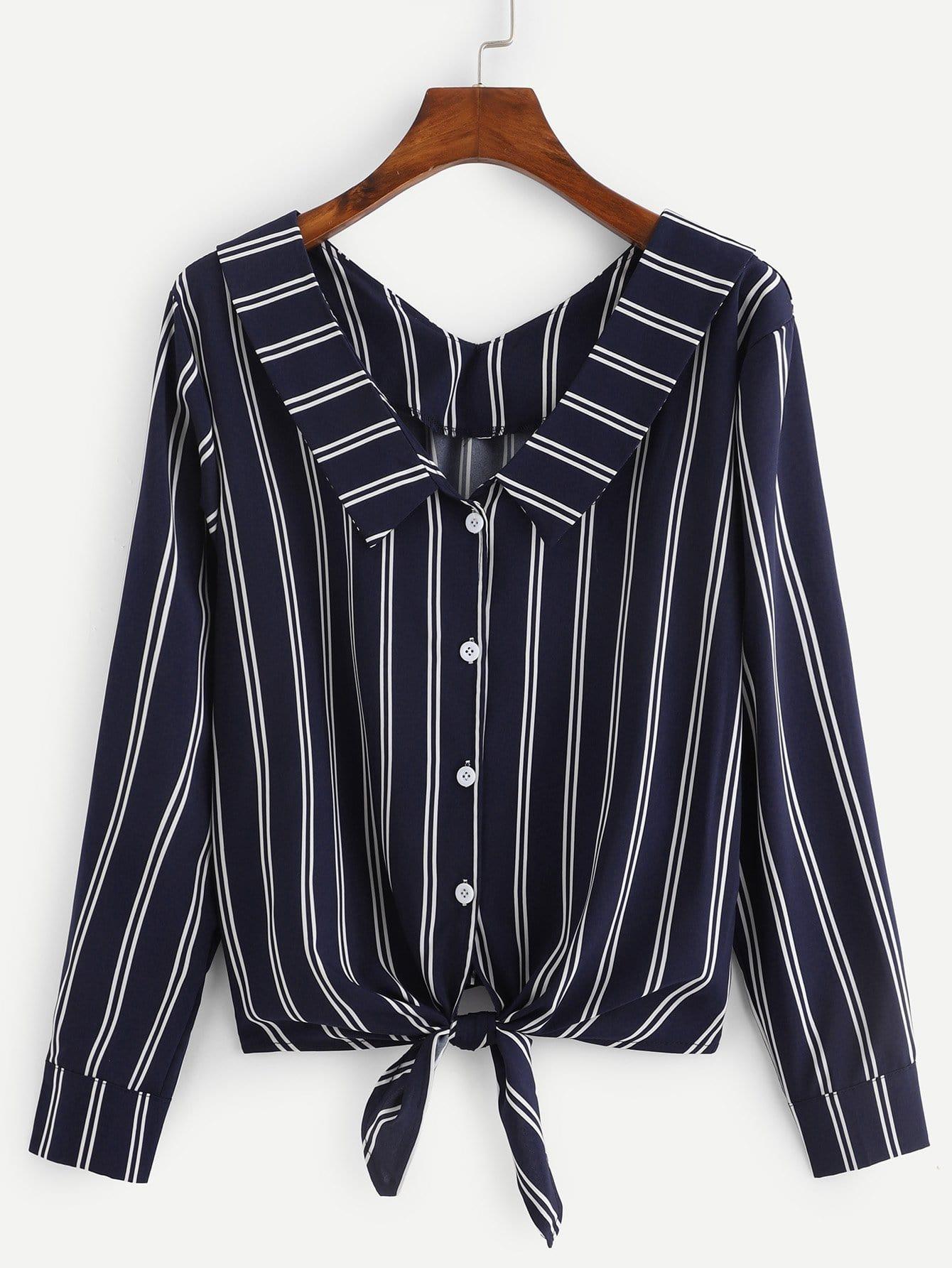 Купить Тонкая-полосатая блуза с бантом, null, SheIn