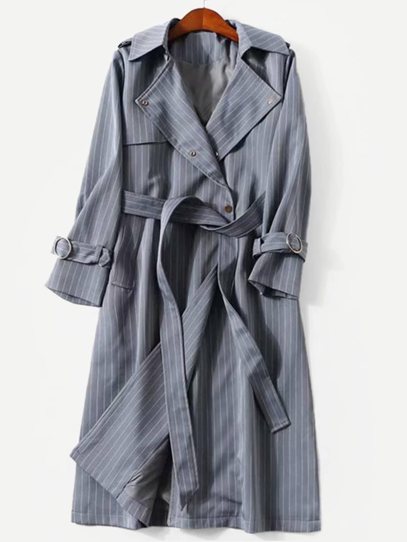 Купить Плюс размеры пальто в полоску с поясом, null, SheIn
