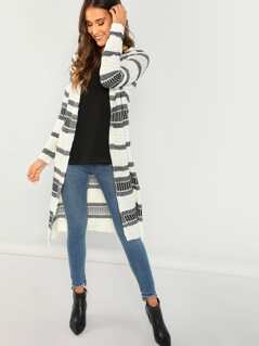 Striped Knit Long Sleeve Duster Cardigan