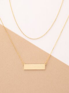 Dainty Layered Gold Chain Plaque Pendant Necklace