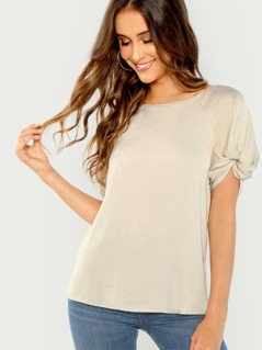Short Sleeve Twist Detail Slinky Blouse