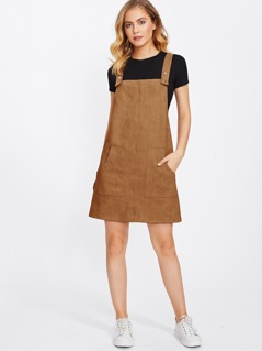 Patch Pocket Front Suede Overall Dress