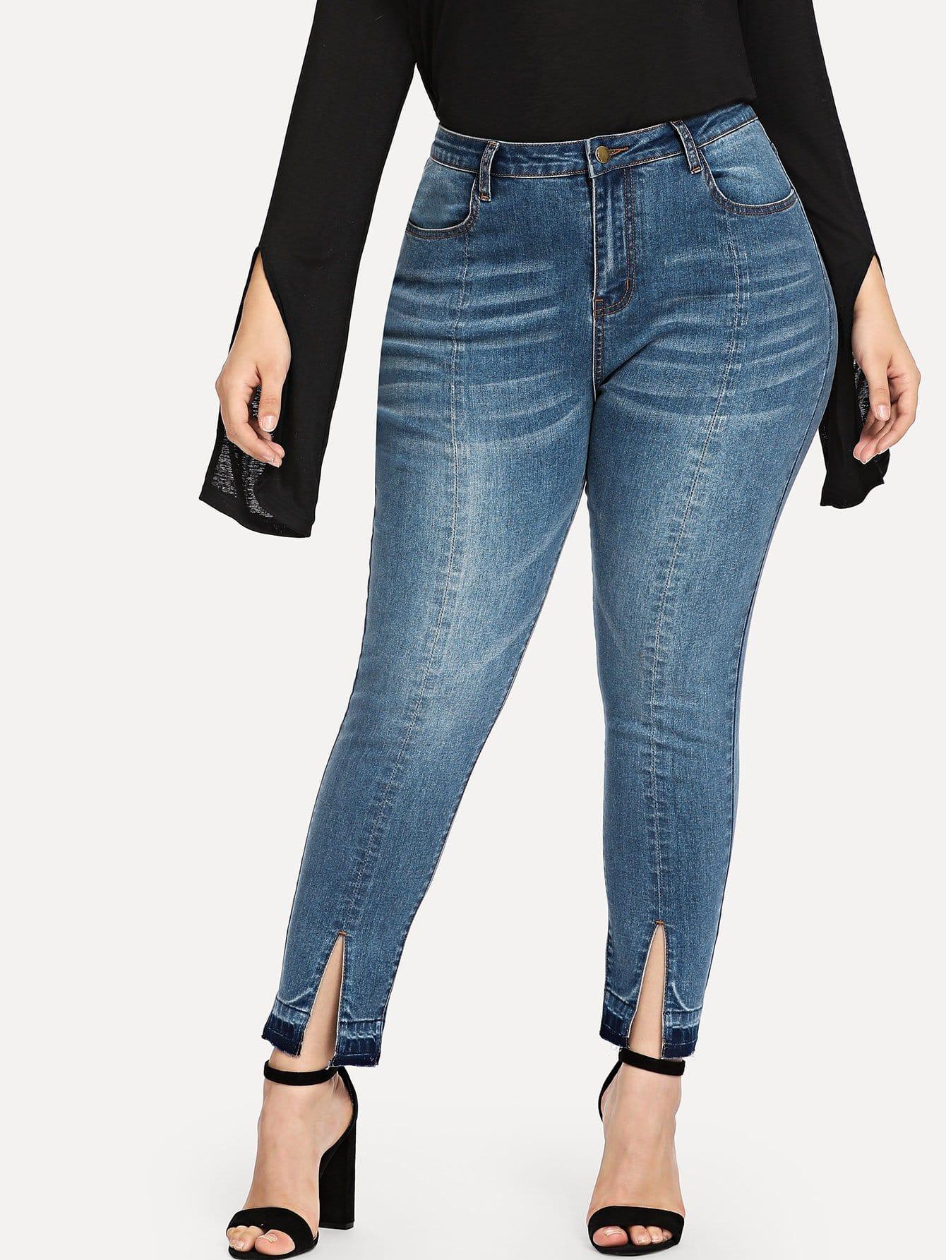 Купить Большие отбеленные джинсы с вырезом, Carol, SheIn