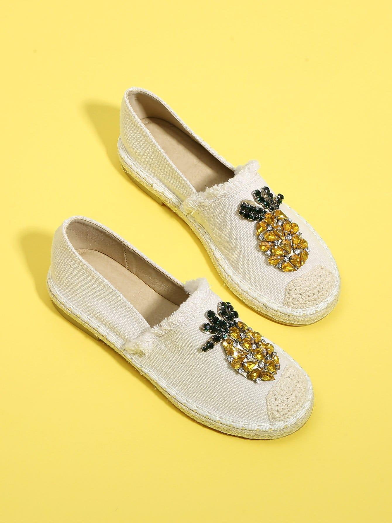Купить Туфли на плоской подошве с украшением горных хрусталей, null, SheIn