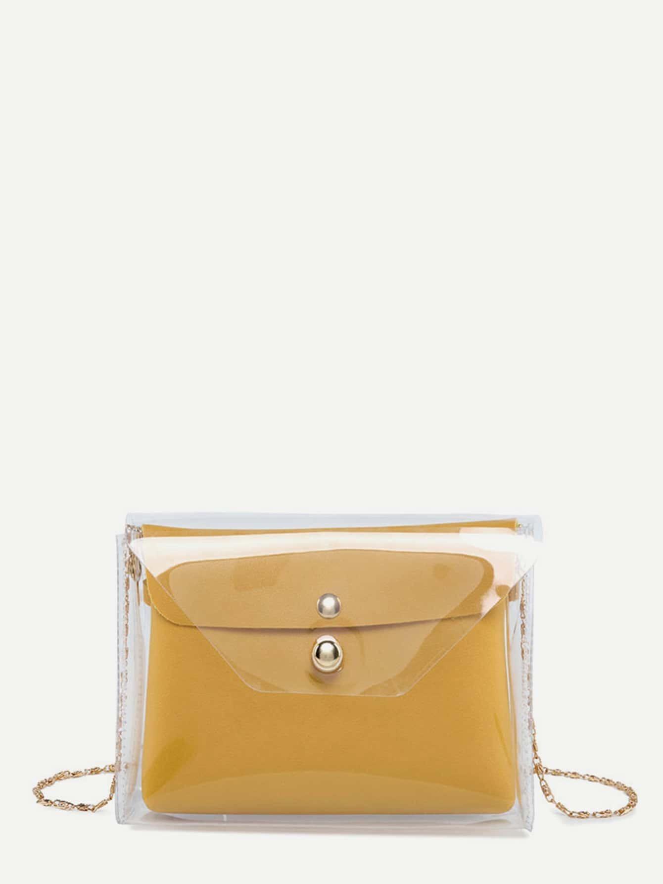 Купить PVC цепная сумка с внутренной сумочкой, null, SheIn