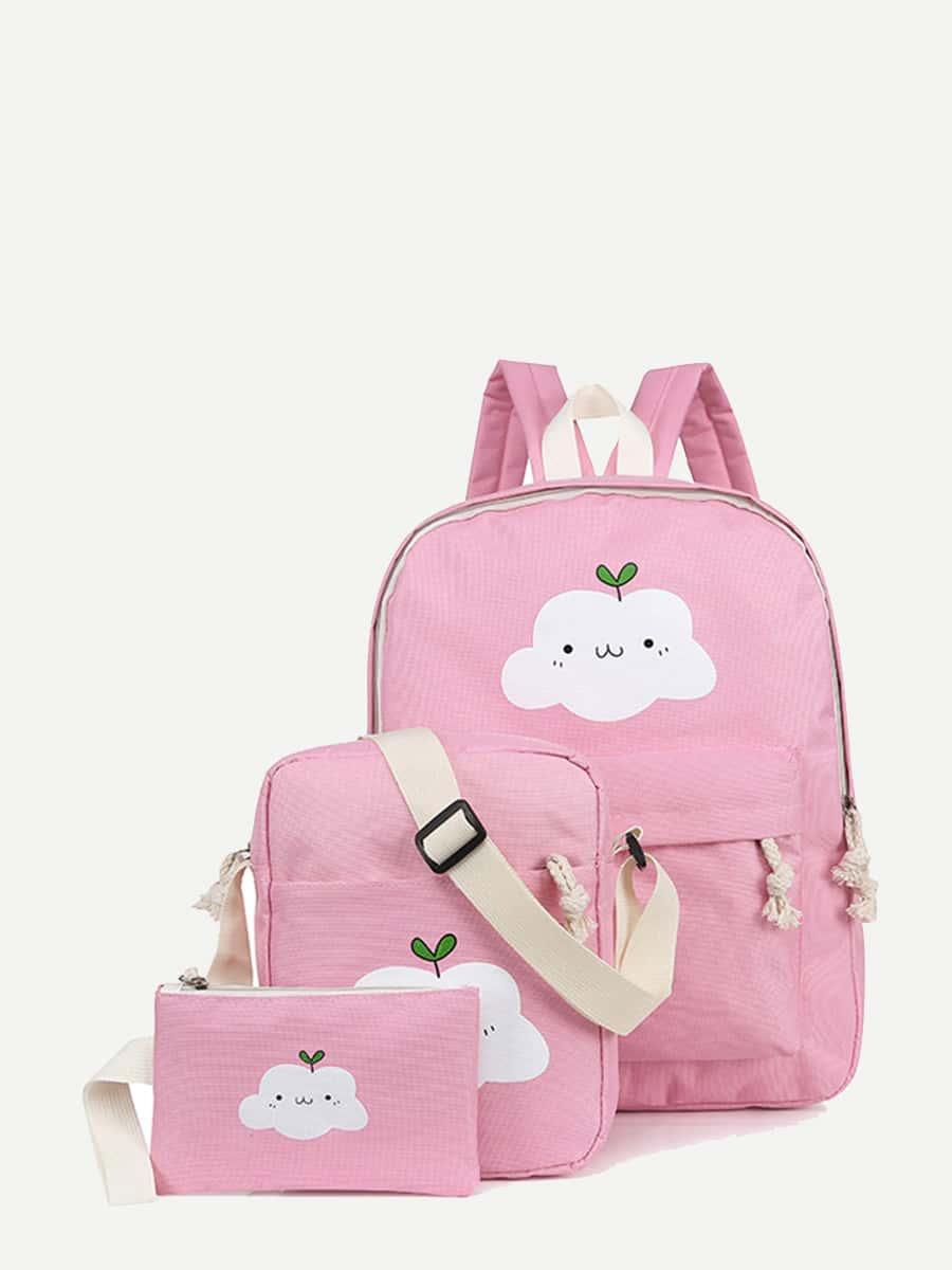 Купить Рюкзак с принтом облак 3 шт для детей, null, SheIn