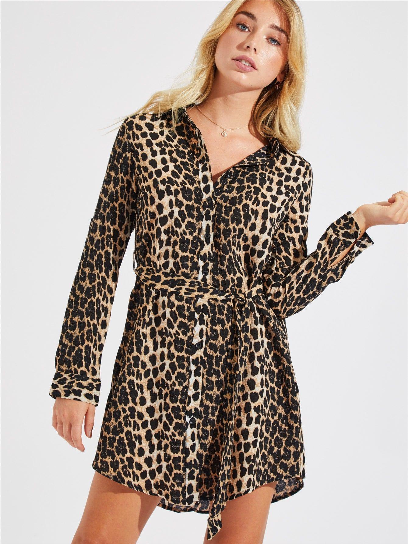 Купить Леопардовая рубашка платье с выгнутым подолом, Bel Owen, SheIn