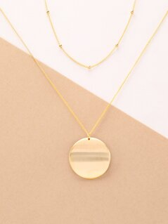 Gold Layered Dainty Chain Disc Pendant Necklace