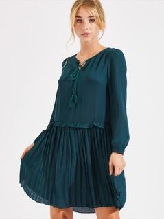 Frill Detail Pleated Hem Dress