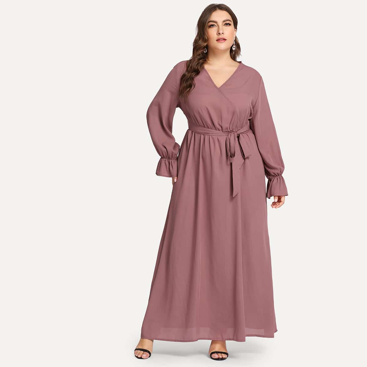 Roze  Casual Vlak Grote maten jurken Kant