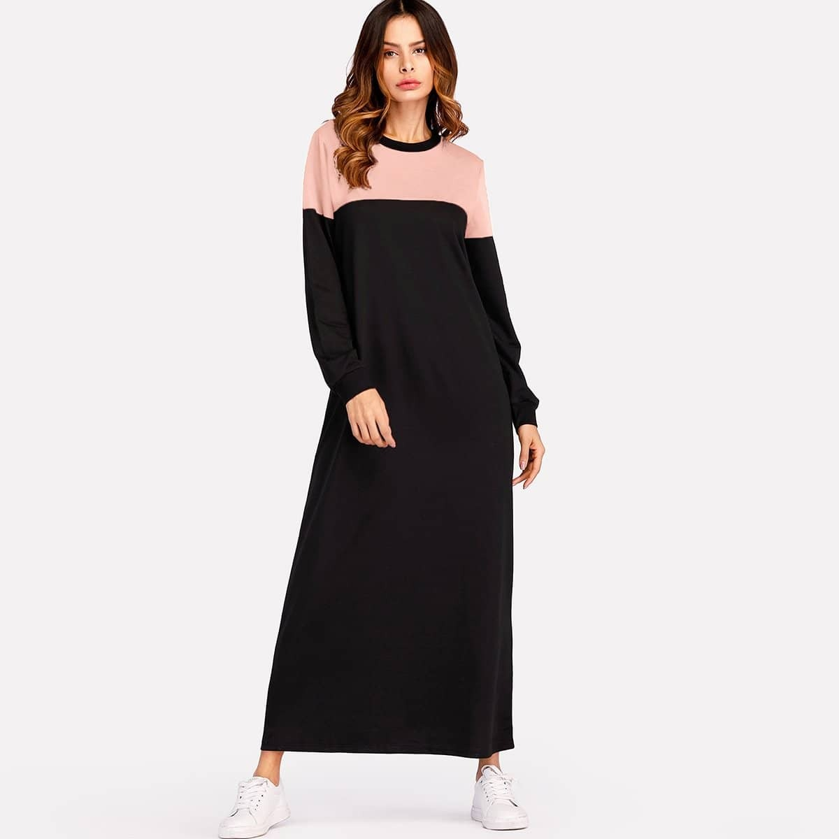 Kleurblok sweatshirt jurk