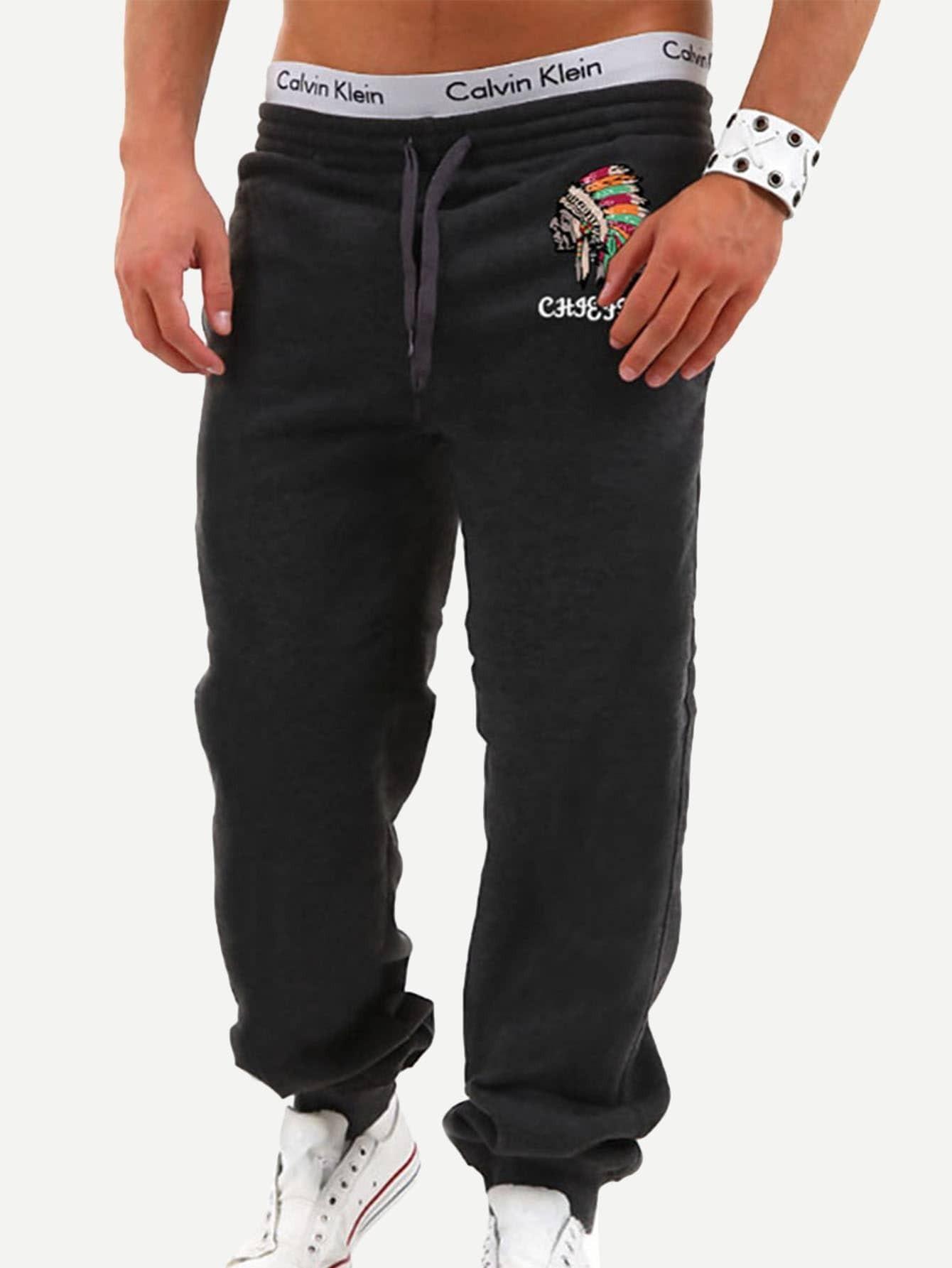 Купить Мужские брюки с басоном эластичным и вышивкой, null, SheIn