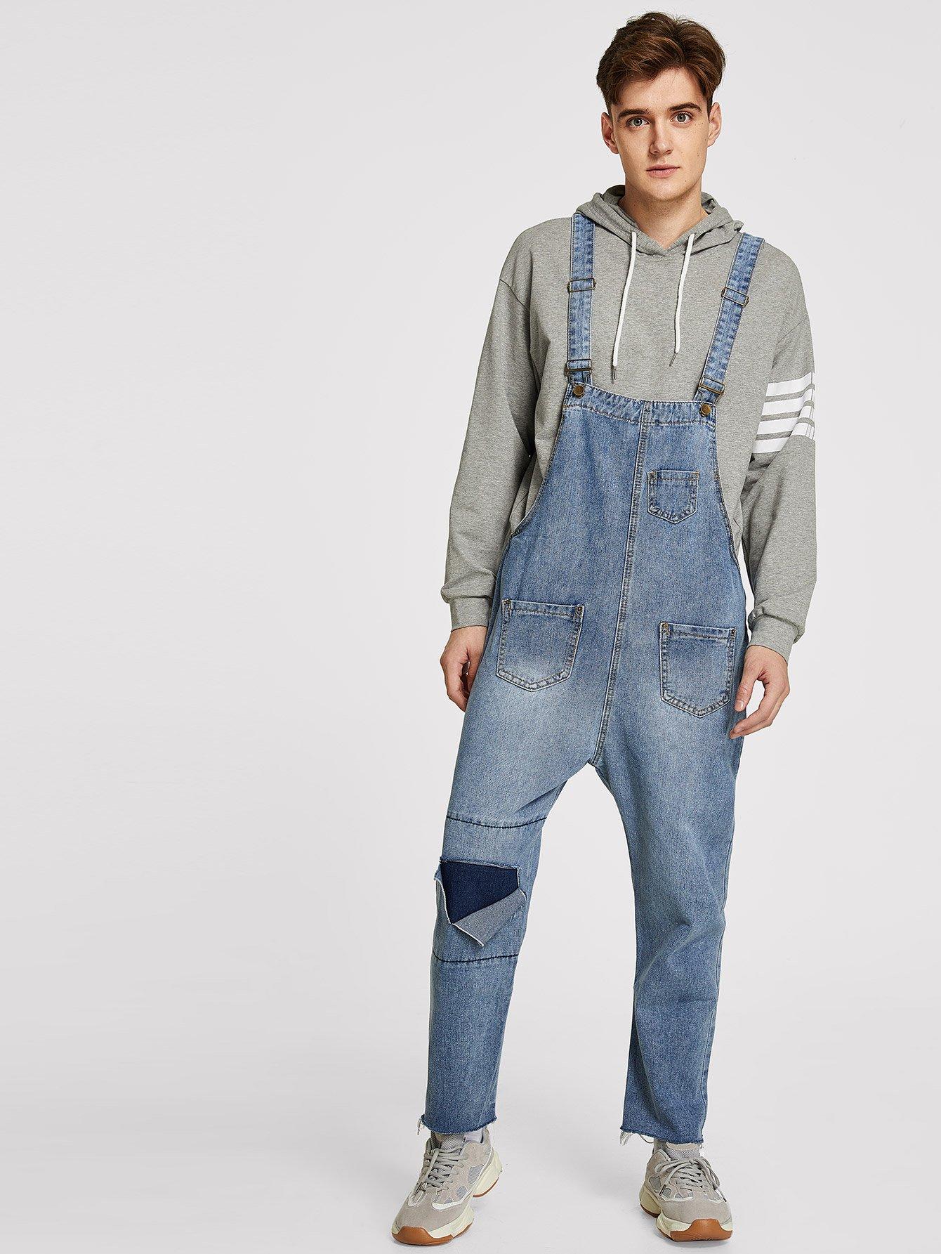 Купить Мужский рваный джинсовый комбинезон с карманами, null, SheIn