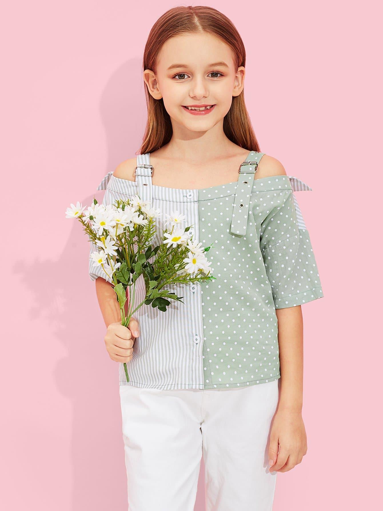 Купить Контрастная блуза с рисунками точки польки и с украшением пуговицы для девочки, Sashab, SheIn