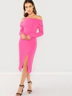 Neon Pink Foldover Detail Cold Shoulder Split Dress