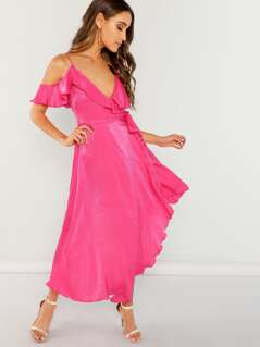 Neon Pink Flounce Cold Shoulder Asymmetric Wrap Dress
