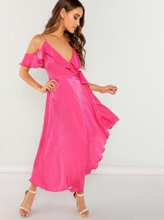 Flounce Cold Shoulder Asymmetric Wrap Dress