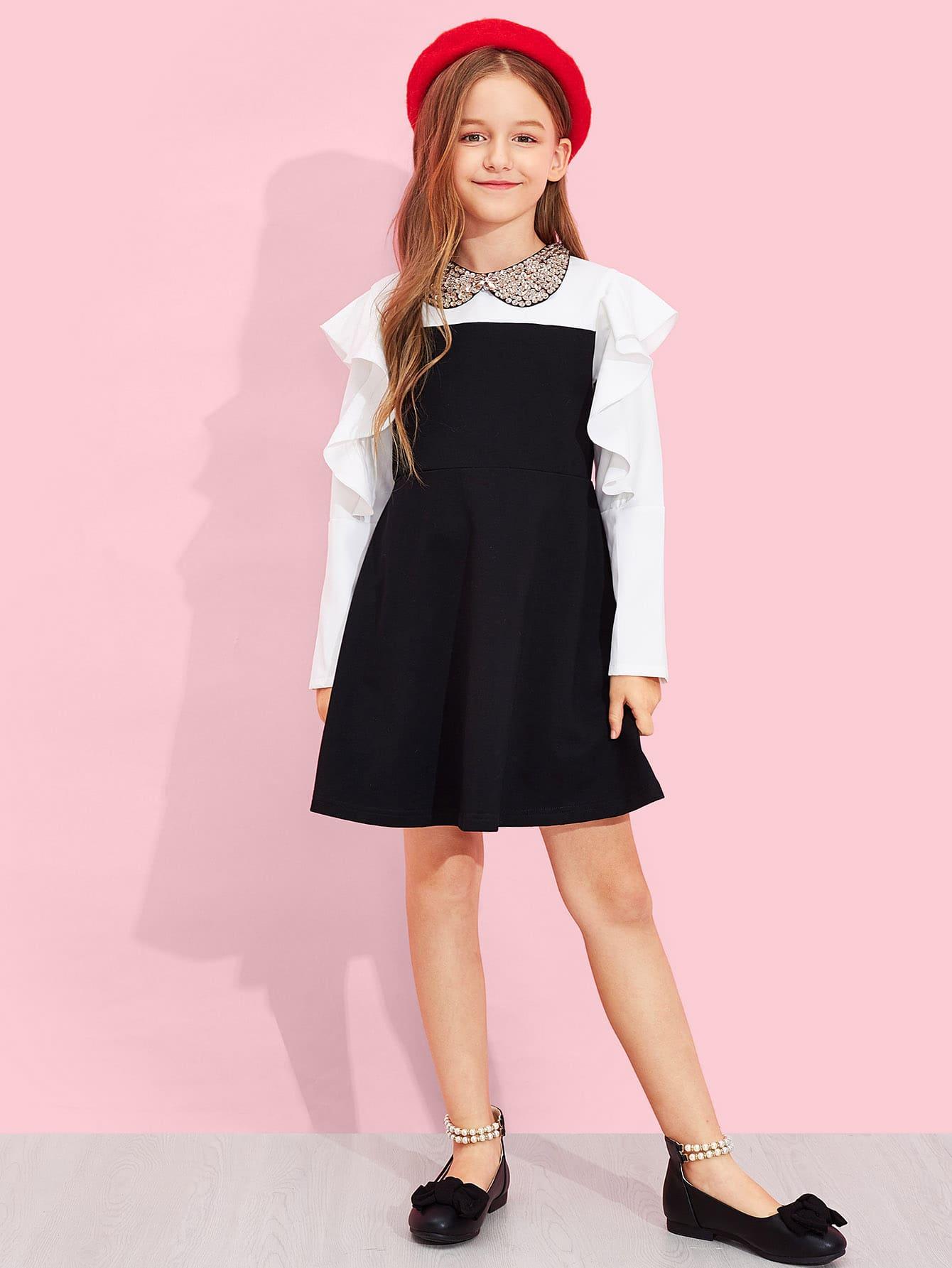 Купить Платье с застёжкой молния и с кружевными оборками для девочки, Sashab, SheIn