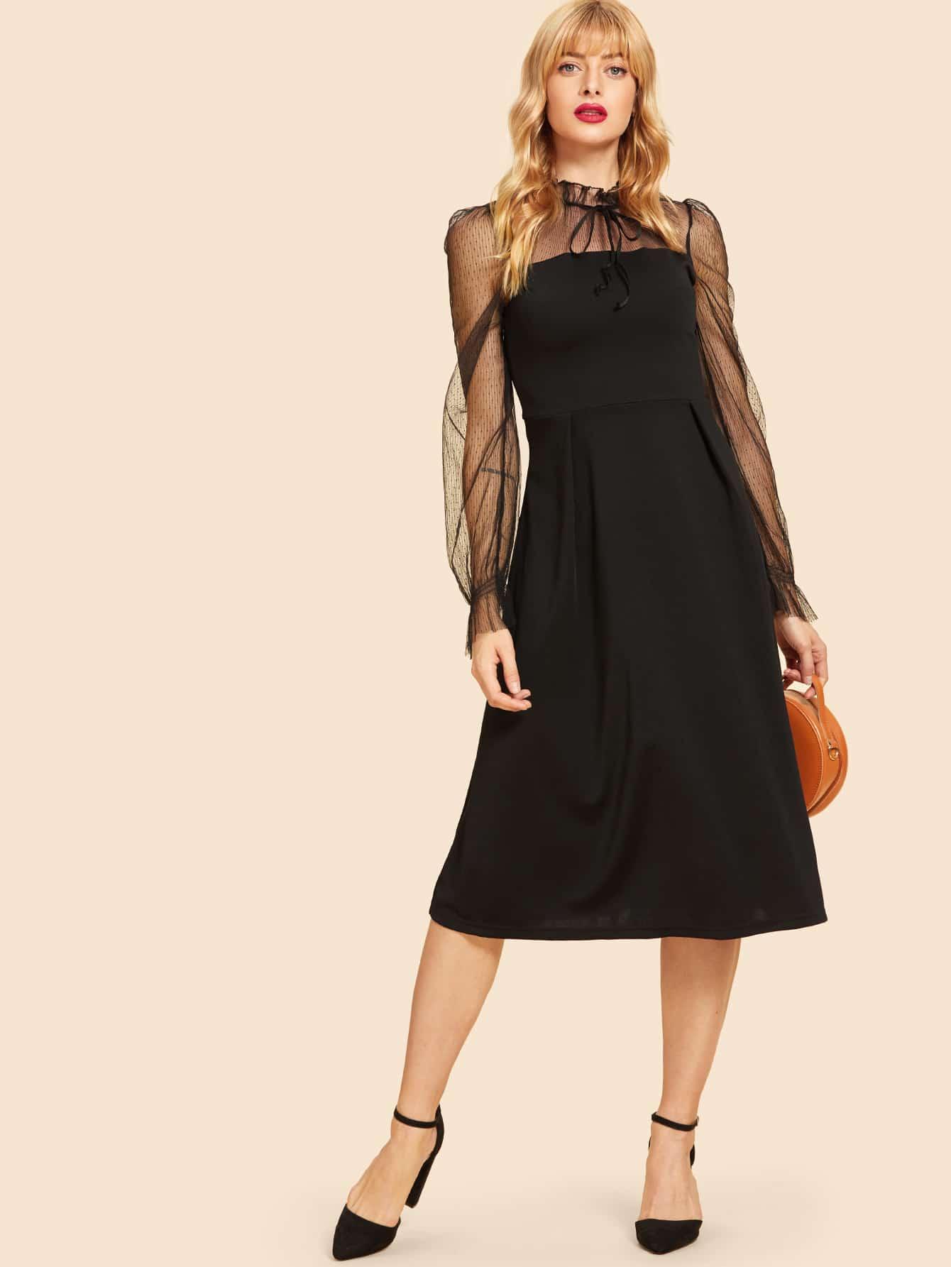 Купить Симметрическое сетчатое платье с кружевными оборками, Masha, SheIn