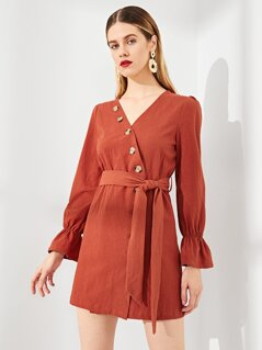 Button Up Wrap Bell Sleeve Solid Dress