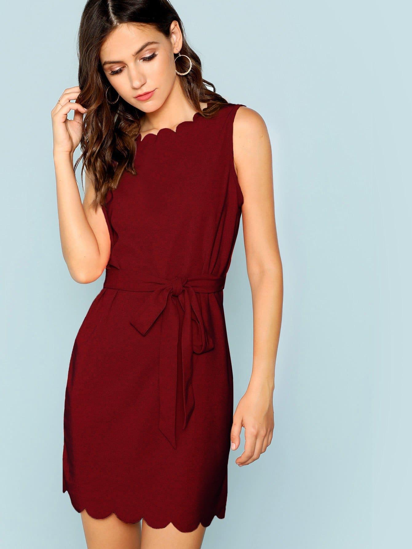 Купить Платье с веерообразной отделкой с завязкой на талии, Zoranaa, SheIn